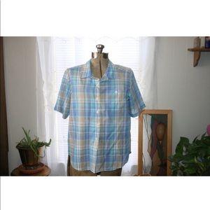 Blue Plaid Button Down shirt,vintage plaid shirt